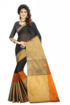 FABLIVA DESIGNER BLACK BEIGE ORANGE COTTON SAREE