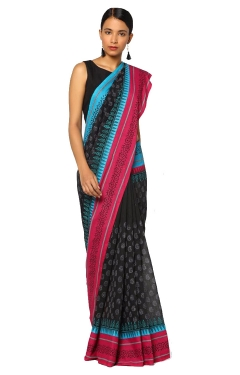 FABLIVA DESIGNER BLACK PINK SKY BLUE COTTON SILK SAREE