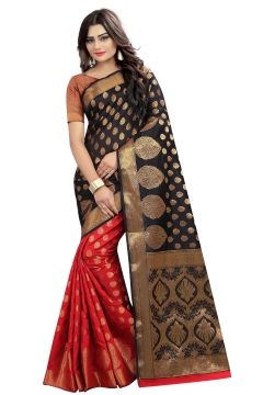 FABLIVA DESIGNER BLACK RED BANARASI SILK SAREE
