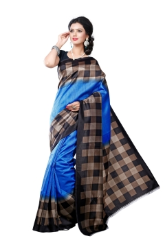 FABLIVA DESIGNER BLUE BLACK BEIGE ART SILK SAREE