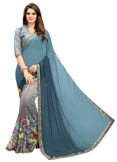 FABLIVA DESIGNER BLUE GREY GEORGETTE SAREE
