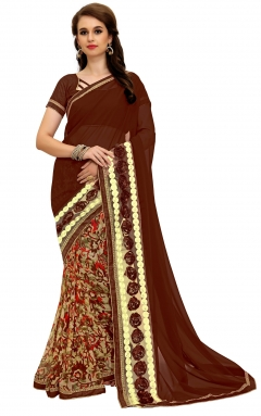 FABLIVA DESIGNER BROWN BEIGE GEORGETTE SAREE