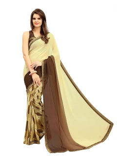 FABLIVA DESIGNER CREAM BROWN GEORGETTE SAREE