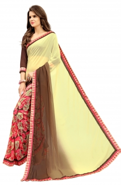 FABLIVA DESIGNER CREAM BROWN PINK GEORGETTE SAREE