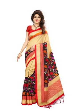 FABLIVA DESIGNER CREAM MULTI MYSOR SILK SAREE
