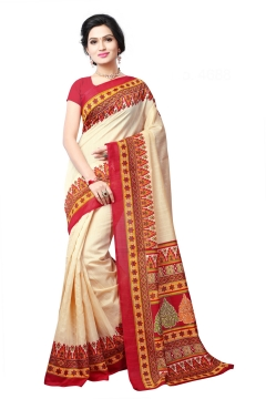 FABLIVA DESIGNER CREAM RED BHAGALPURI SAREE