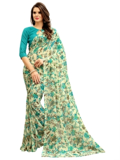 FABLIVA DESIGNER CREAM SKY BLUE GEORGETTE SAREE