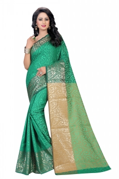 FABLIVA DESIGNER GREEN COTTON SILK SAREE