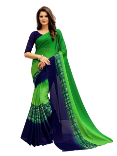 FABLIVA DESIGNER GREEN NAVY BLUE GEORGETTE SAREE