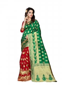 FABLIVA DESIGNER GREEN RED BANARASI SILK SAREE
