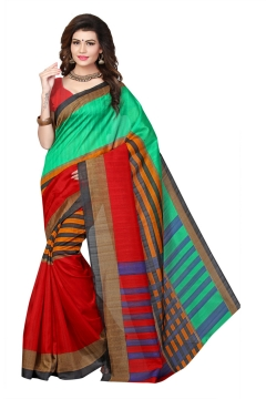 FABLIVA DESIGNER GREEN RED BHAGALPURI SAREE