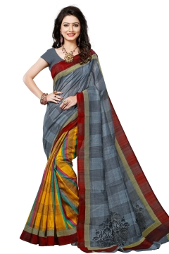 FABLIVA DESIGNER GREY YELLOW BHAGALPURI SAREE