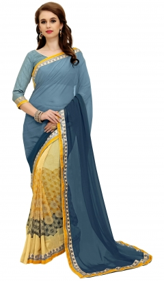 FABLIVA DESIGNER GREY YELLOW GEORGETTE SAREE