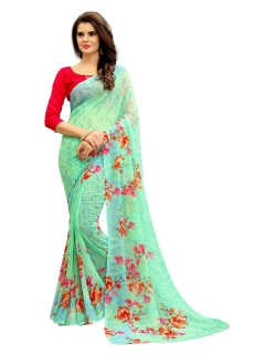 FABLIVA DESIGNER LIGHT GREEN MULTI GEORGETTE SAREE