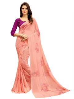 FABLIVA DESIGNER LIGHT PEACH GEORGETTE SAREE