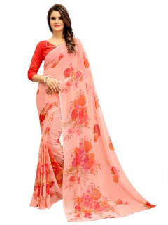 FABLIVA DESIGNER LIGHT PEACH MULTI GEORGETTE SAREE