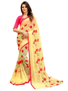 FABLIVA DESIGNER LIGHT YELLOW GEORGETTE SAREE