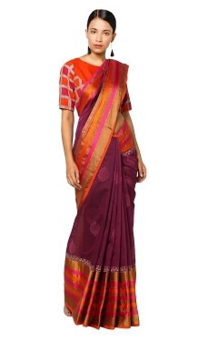 FABLIVA DESIGNER MAGENTA COTTON SILK SAREE