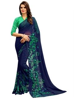FABLIVA DESIGNER NAVY BLUE GREEN GEORGETTE SAREE