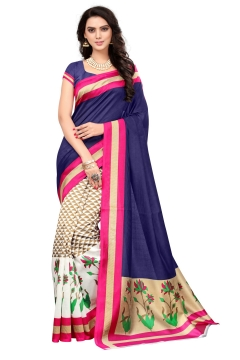 FABLIVA DESIGNER NAVY BLUE OFF WHITE BHAGALPURI SAREE