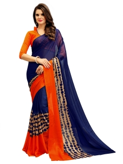 FABLIVA DESIGNER NAVY BLUE ORANGE GEORGETTE SAREE