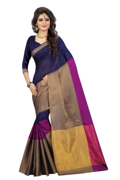 FABLIVA DESIGNER NAVY BLUE PINK BEIGE COTTON SAREE