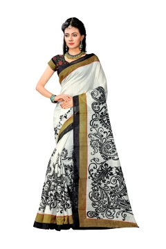 FABLIVA DESIGNER OFF WHITE BLACK BHAGALPURI SAREE