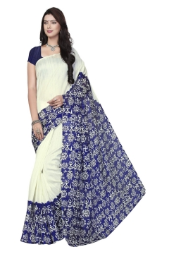 FABLIVA DESIGNER OFF WHITE BLUE BHAGALPURI SAREE