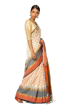 FABLIVA DESIGNER OFF WHITE GREY ORANGE COTTON SILK SAREE