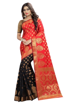 FABLIVA DESIGNER ORANGE BLACK BANARASI SILK SAREE
