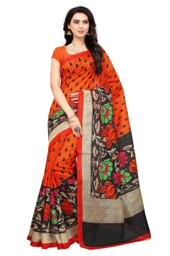 FABLIVA DESIGNER ORANGE MULTI BHAGALPURI SAREE