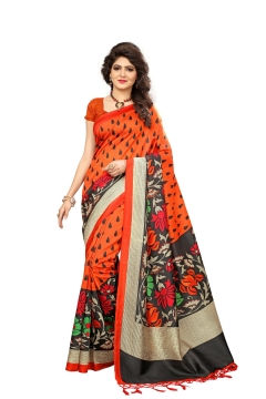 FABLIVA DESIGNER ORANGE MULTI MYSOR SILK SAREE