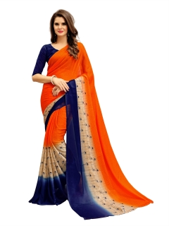 FABLIVA DESIGNER ORANGE NAVY BLUE GEORGETTE SAREE