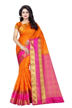 FABLIVA DESIGNER ORANGE PINK TUSSAR SILK NYLON SAREE