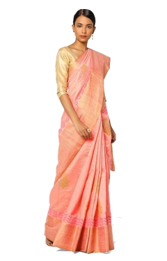FABLIVA DESIGNER PEACH COTTON SILK SAREE