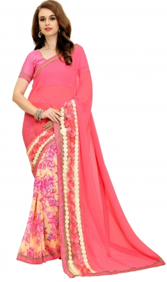 FABLIVA DESIGNER PEACH CREAM GEORGETTE SAREE