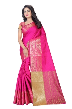 FABLIVA DESIGNER PINK COTTON SILK SAREE