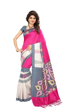 FABLIVA DESIGNER PINK OFF WHITE GREY MYSOR SILK SAREE