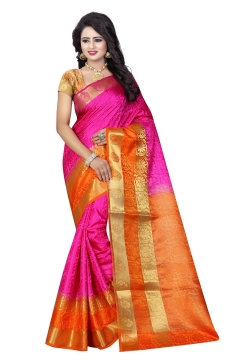 FABLIVA DESIGNER PINK ORANGE TUSSAR SILK NYLON SAREE