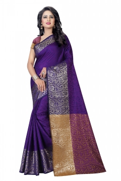 FABLIVA DESIGNER PURPLE COTTON SILK SAREE