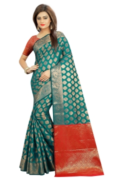 FABLIVA DESIGNER RAMA GREEN RED BANARASI SILK SAREE
