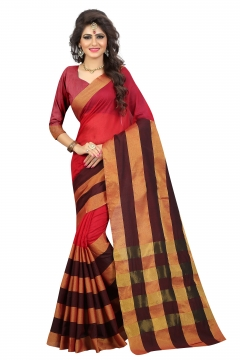 FABLIVA DESIGNER RED BEIGE POLLY COTTON SAREE