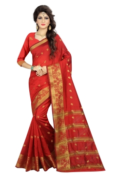 FABLIVA DESIGNER RED BEIGE POLYSILK SAREE