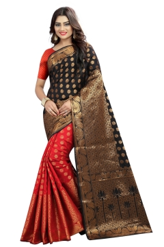 FABLIVA DESIGNER RED BLACK BANARASI SILK SAREE