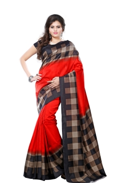 FABLIVA DESIGNER RED BLACK BEIGE ART SILK SAREE