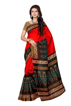 FABLIVA DESIGNER RED BLACK BHAGALPURI SAREE
