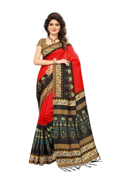 FABLIVA DESIGNER RED BLACK MYSOR SILK SAREE