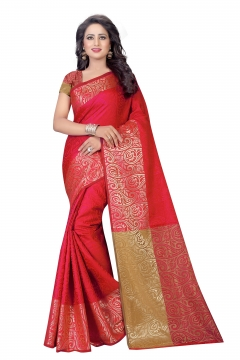 FABLIVA DESIGNER RED COTTON SILK SAREE