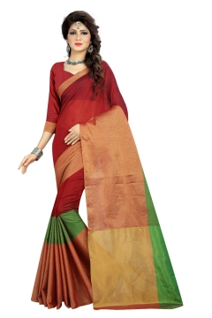 FABLIVA DESIGNER RED GREEN BEIGE COTTON SAREE