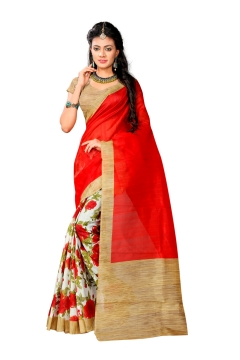 FABLIVA DESIGNER RED MULTI BHAGALPURI SAREE
